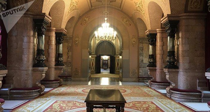 El interior del Parlamento de Cataluña