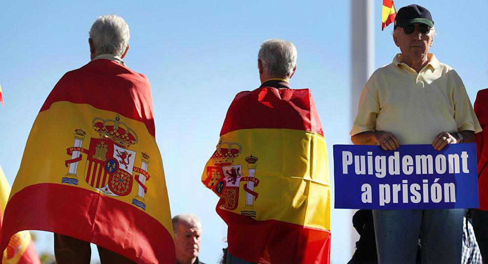 Protestas en contra de Carles Puigdemont, presidente de Cataluña