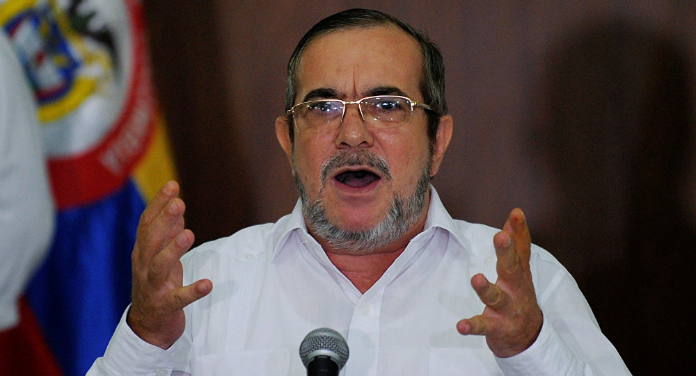 FARC rebel leader Rodrigo Londono, better known by the nom de guerre Timochenko, gestures during a news conference in Havana, Cuba, August 28, 2016