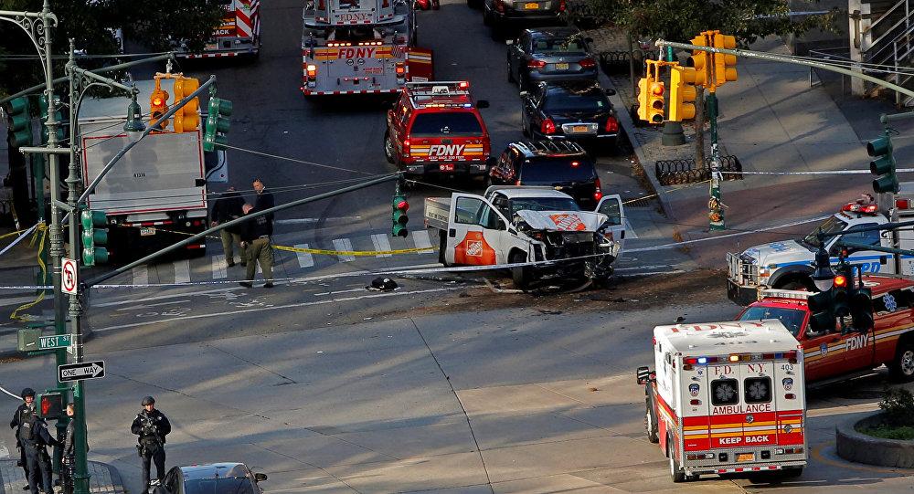 Los servicios de emergencia en el lugar del atropello y tiroteo en Nueva York el 31 de octubre de 2017