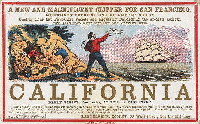 Cartel publicitario del velero California que muestra escenas de la fiebre de oro (aprox. 1850)