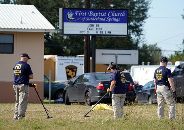 La inspección del lugar de tiroteo en Texas, EEUU