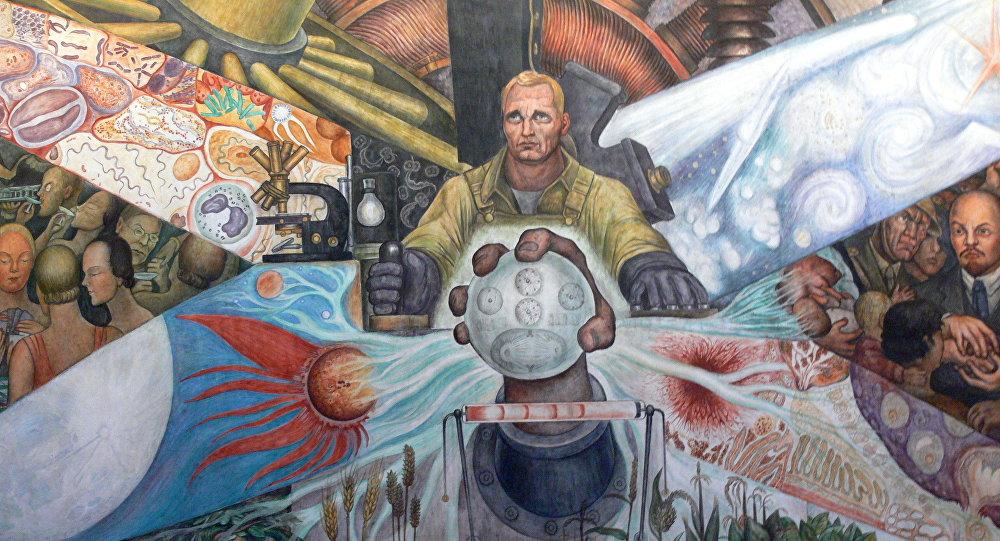 Parte del mural El Hombre en la encrucijada (1934) por Diego Rivera, en el Palacio de Bellas Artes de Ciudad de México, donde supuestamente aparece Lenin.