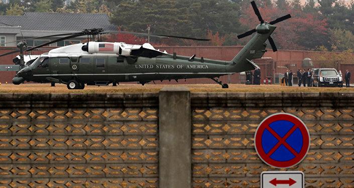 El helicóptero de Donald Trump en Seúl