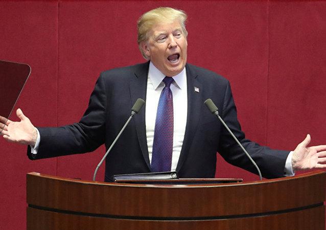 Donald Trump, el presidente de Estados Unidos, interviene ante el Parlamento surcoreano en Seúl