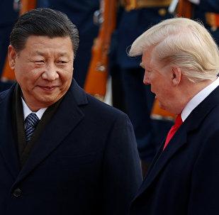 Xi Jinping, presidente de China junto a Donald Trump, presidente de EEUU
