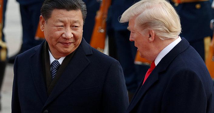 Xi Jinping, presidente de China, junto a Donald Trump, presidente de EEUU