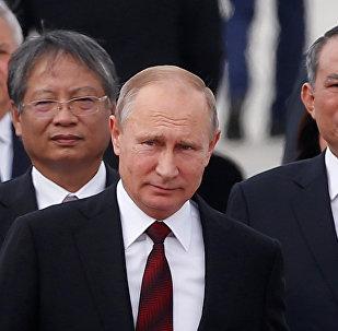Vladímir Putin, presidente de Rusia, llega a la ciudad de Da Nang, en Vietnam