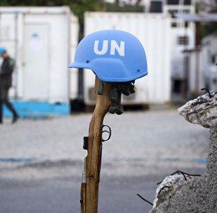Un casco azul de una misión de paz de la ONU (archivo)