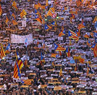 Manifestaciones en Barcelona por la libertad de los independentistas presos