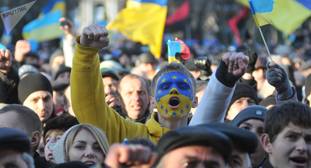 Los partidarios del Acuerdo de asociación de Ucrania y la UE (archivo)