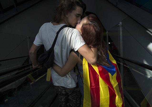 Una pareja en Barcelona