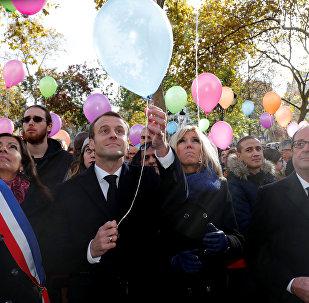 Emanuel Macron, presidente de Francia, durante la ceremonia dedicada a las víctimas de los atentados del 13 de noviembre de 2015
