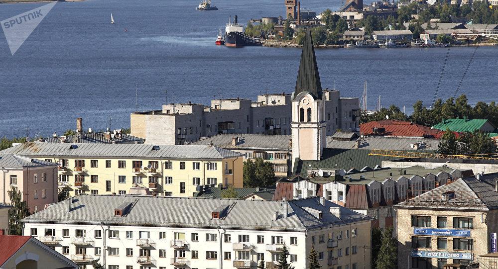 Vista a la ciudad rusa de Arjánguelsk