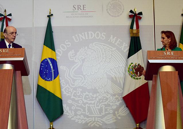 Banderas de Brasil y México