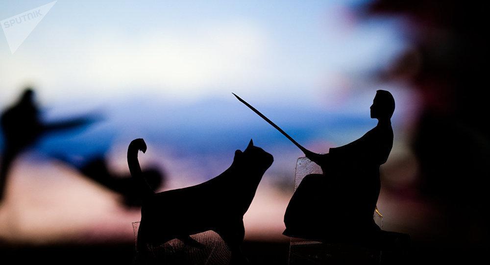 Una representación de un gato y un practicante de artes marciales