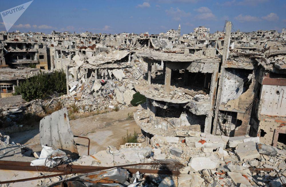Edificios en ruinas en la ciudad siria de Homs.