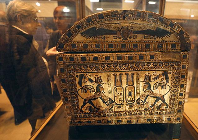 Una parte de la tumba de Tutankamón en el Museo Egipcio de El Cairo