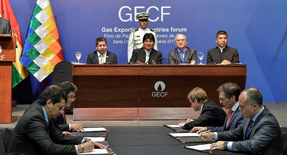 El presidente de Bolivia, Evo Morales, durante la sesión del IV Foro de Países Exportadores de Gas
