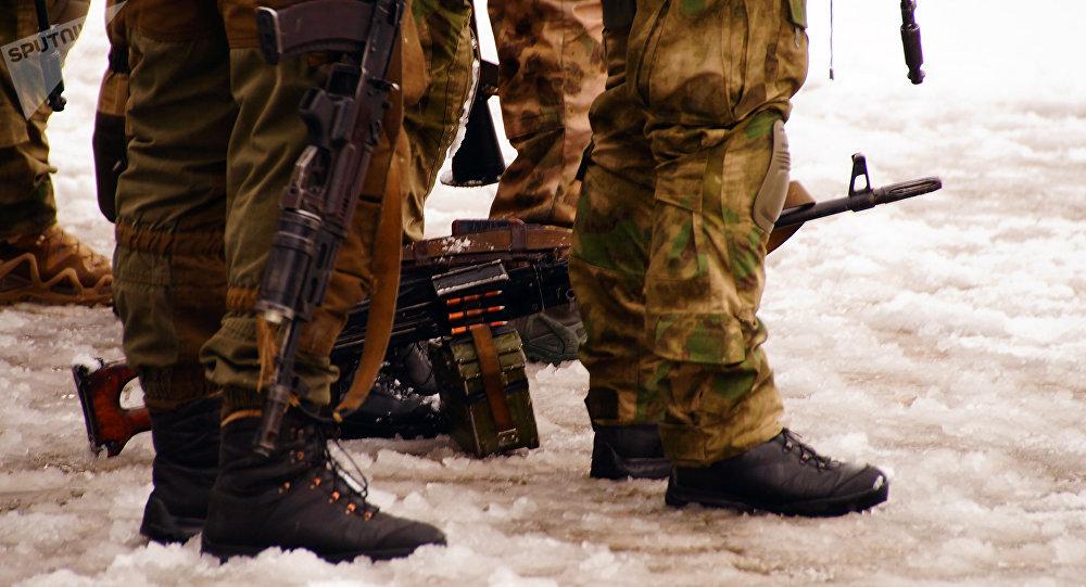 Servicios de seguridad en Lugansk, Ucrania (imagen referencial)