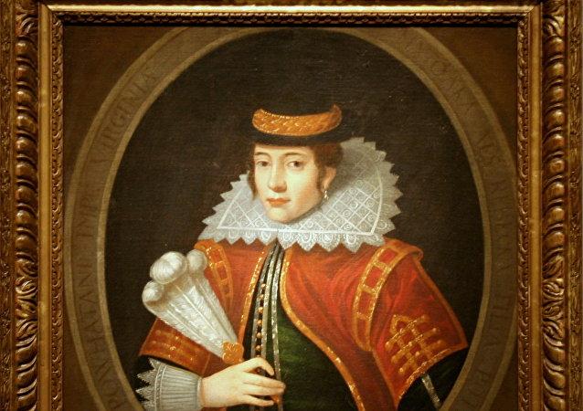 Retrato de Pocahontas, una héroe de la tribu indígena Pamunkey