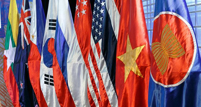 Las banderas de los países miembros de la ASEAN