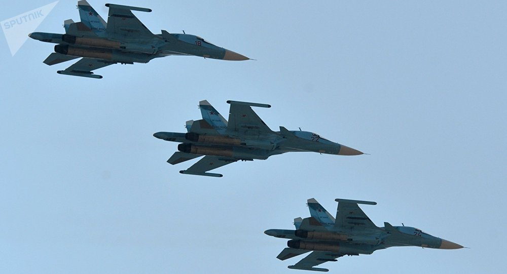 Cazas Su-34 de las Fuerzas Aeroespaciales de Rusia