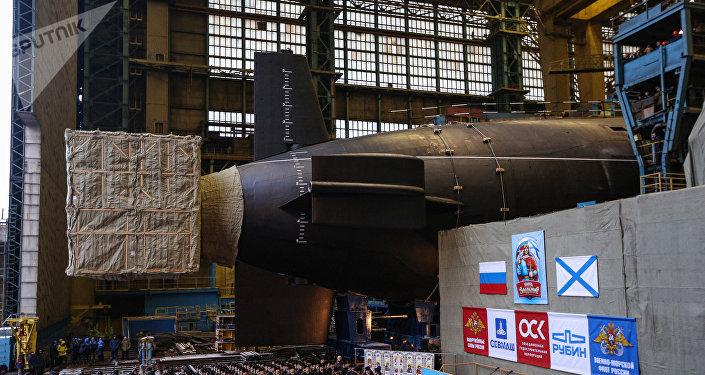 Botadura del submarino nuclear ruso Knyaz Vladimir