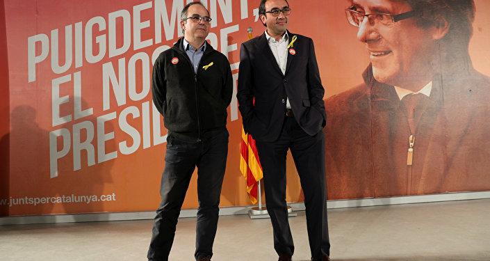 Jordi Turull, portavoz del cesado Gobierno catalán, y Josep Rull, exconsejero de Territorio