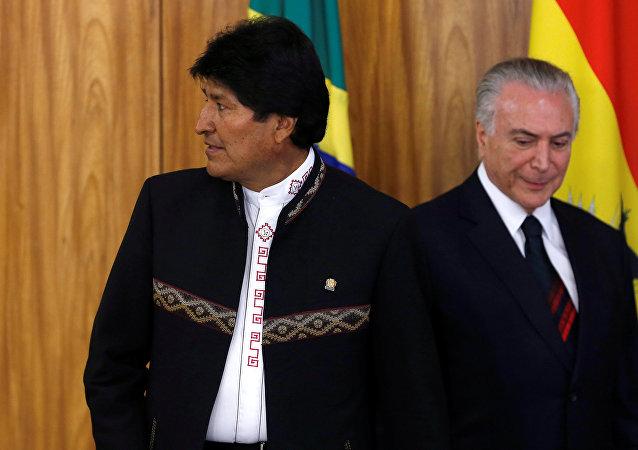 El presidente de Bolivia, Evo Morales, y su homólogo de Brasil, Michel Temer