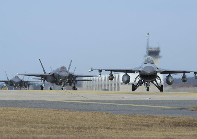 Los cazas estadounidenses durante las maniobras Vigilant Ace (As Vigilante, en español)