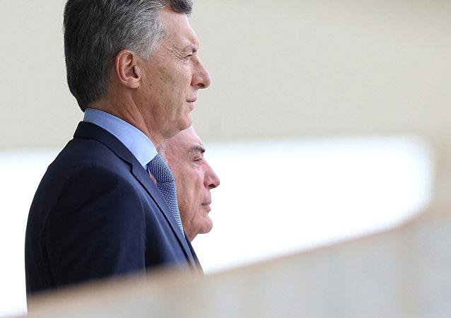 Presidente de Argentina, Mauricio Macri, y presidente de Brasil, Michel Temer