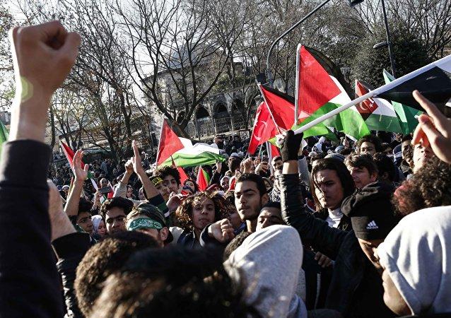Protestas en Estambul por la decisión de Donald Trump sobre Jerusalén (imagen referencial)
