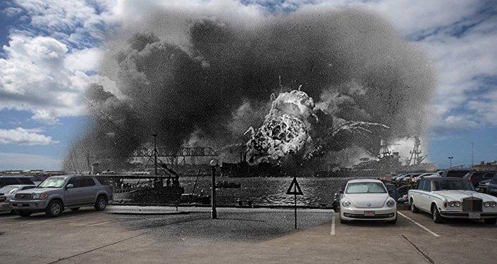 El USS Shaw explota durante el ataque