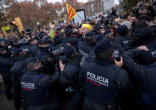 Protestas cerca del Museo de Lleida, Cataluña