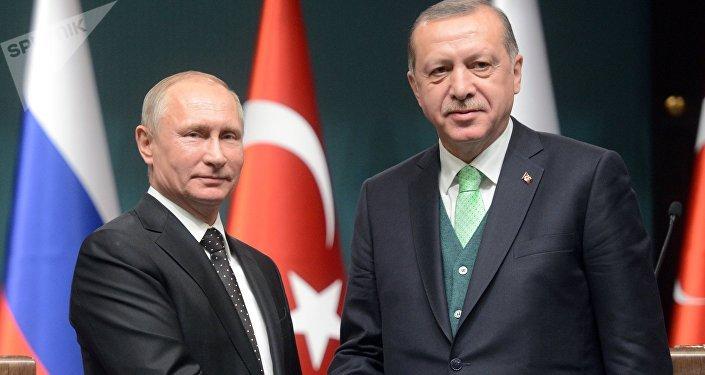 El presidente ruso, Vladímir Putin, con su homólogo turco Recep Tayyip Erdogan (archivo)