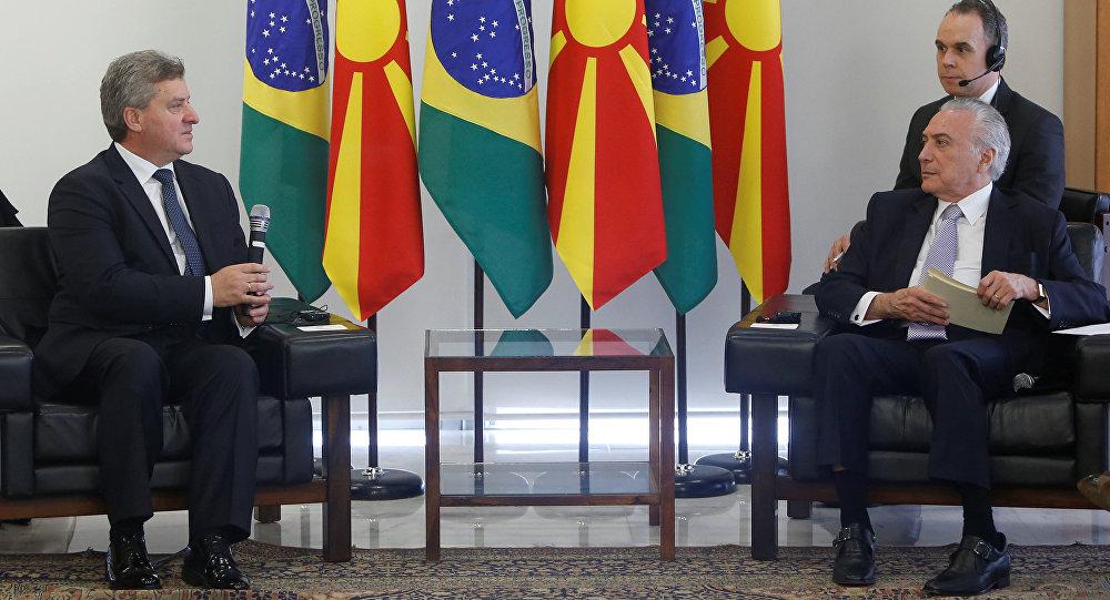 El presidnte de Macedonia, Gjorge Ivanov, y el presidente de Brasil, Michel Temer