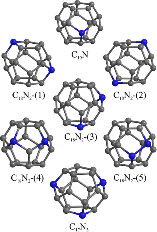 Estructuras atómicas de fullerenos C20 dopados con uno, dos o tres átomos de nitrógeno. Los picos grises y azules representan átomos de carbono y de nitrógeno, respectivamente