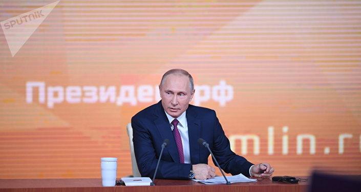 Vladímir Putin, presidente de Rusia, durante la gran rueda de prensa anual