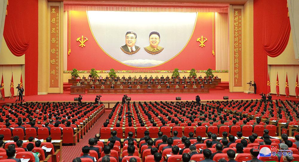 Los participantes del octavo Congreso de trabajadores de la industria de Defensa de Corea del Norte.