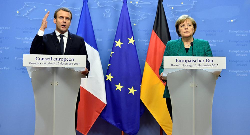 El líder galo Emmanuel Macron y la canciller alemana, Angela Merkel