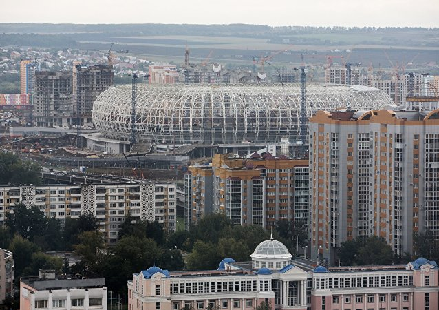 La construcción del estadio en la ciudad rusa de Saransk