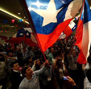 Seguidores de Sebastián Piñera, presidente electo de Chile