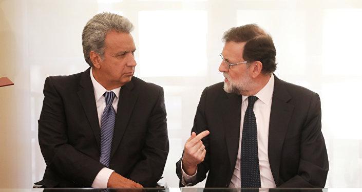 El presidente de España, Mariano Rajoy, y el presidente de Ecuador, Lenín Moreno