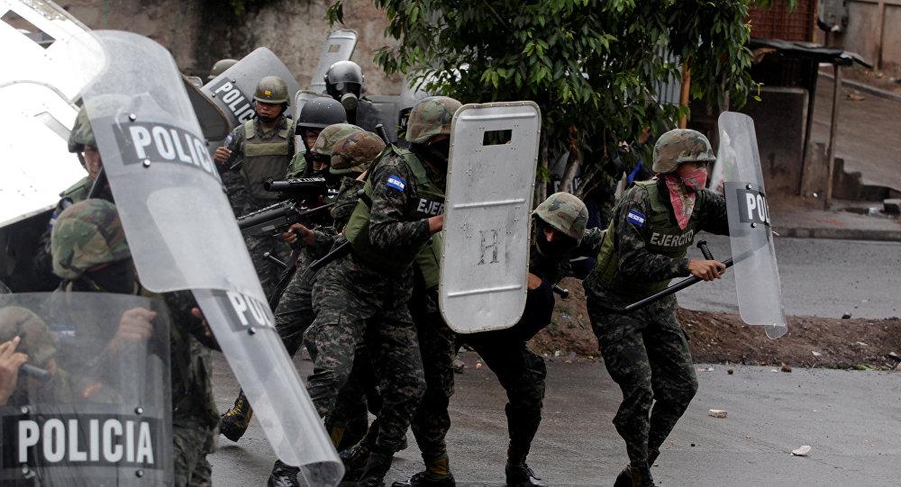 Policía militar de Honduras en Tegucigalpa, la capital del país