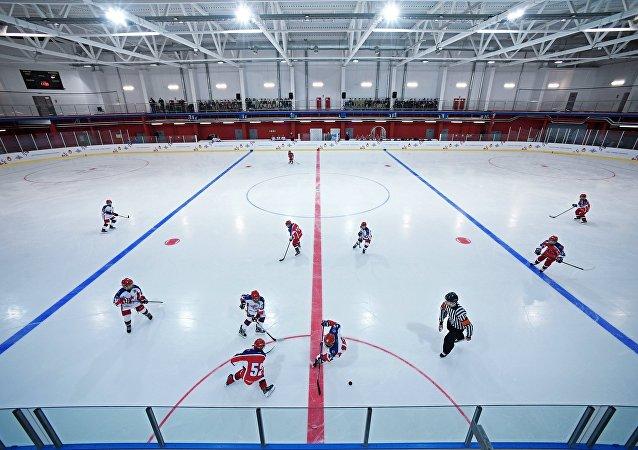 Un partido de hockey sobre hielo