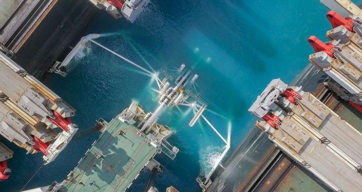 La construcción del tramo marítimo del gasoducto Turk Stream (archivo)