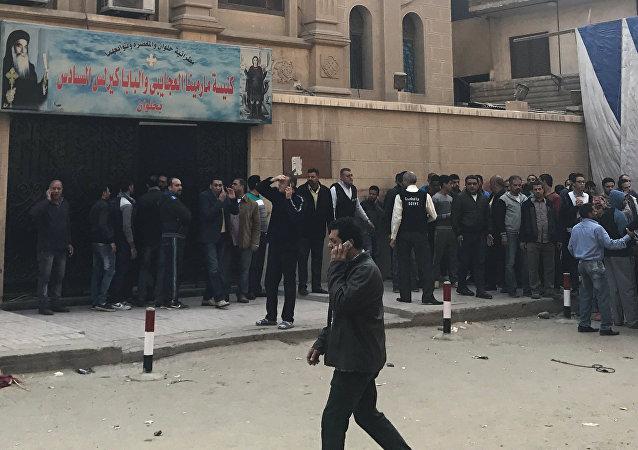 Lugar del ataque a iglesia copta en El Cairo, Egipto
