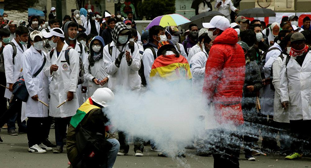 Protesta en la Paz, Bolivia