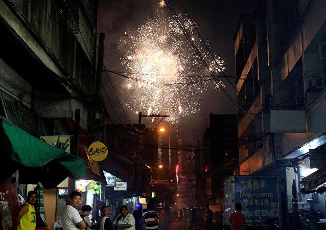 Fuegos artificiales en Manila, Filipinas